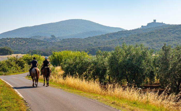 Due Cavalieri Su Una Strada Verso Capalbio, Grosseto, Toscana, Italia